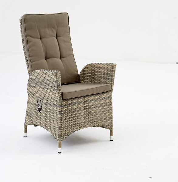 Gartenstuhl Outdoor Kunststoff, Textil grau ca. 62 cm x 106 cm x 59 cm