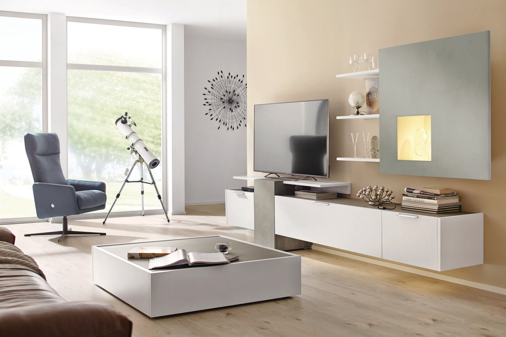 Wohnwand FENA Hülsta Holzwerkstoff weiß 45 x 185 x 330 cm