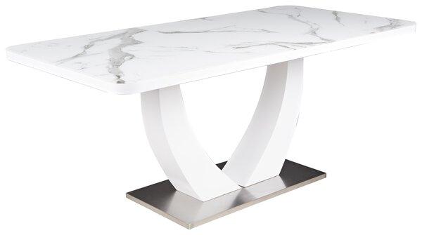 Esstisch LIV'IN Glas, Holz matt weiß / Glas Marmoroptik ca. 90 cm x 76 cm x 200 cm