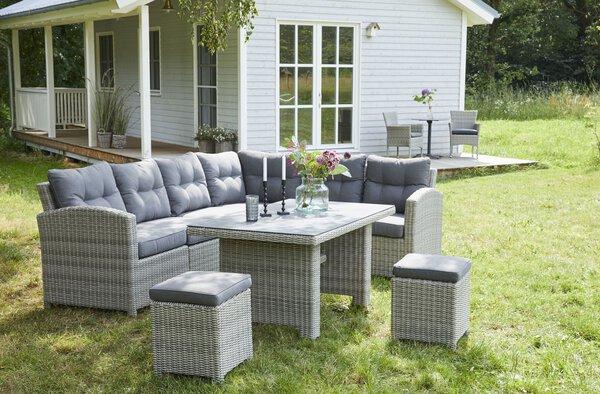 Lounge-Set Outdoor Kunststoff, Metall Kunststoffgeflecht grau