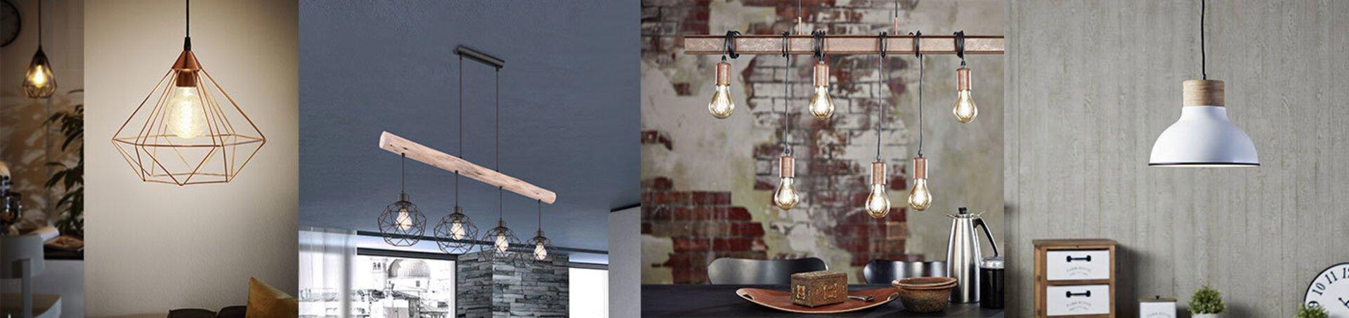 """Verschiedene Lampen in rustikalem Design, bei denen das Material im Vordergrund steht. Das Bild dient als Inspiration für rustikale Lampen innerhalb der """"Leuchtentrends""""."""
