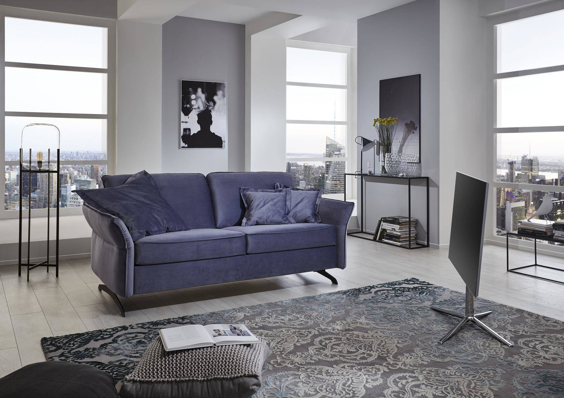 Schlafsofa Collin Nehl Textil Blau 105 x 90 x 192 cm