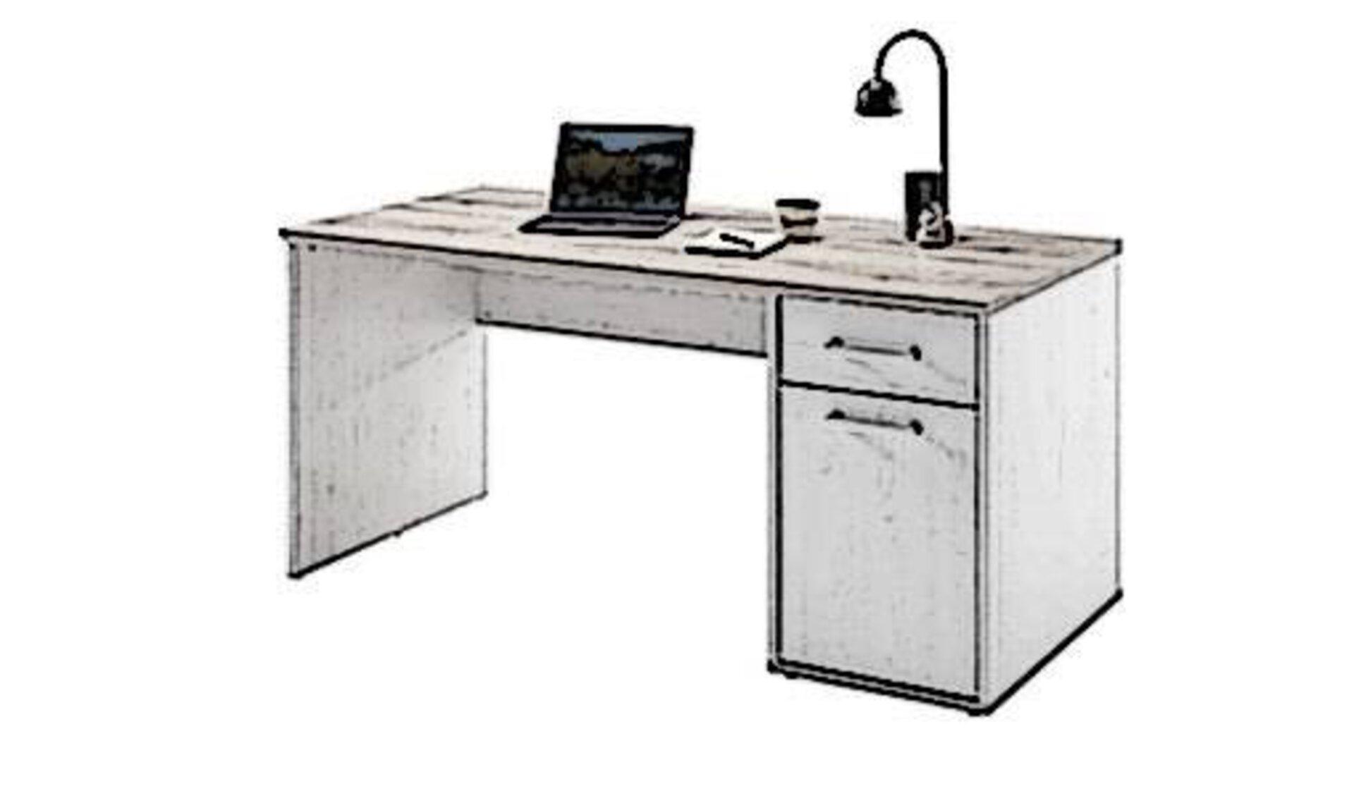 Icon für die Kategorie Schreibtisch ist ein Bürotosch mit Arbeitsplatte aus Holz und einem Schrank, sowie einer Schublade auf der rechten Seite.
