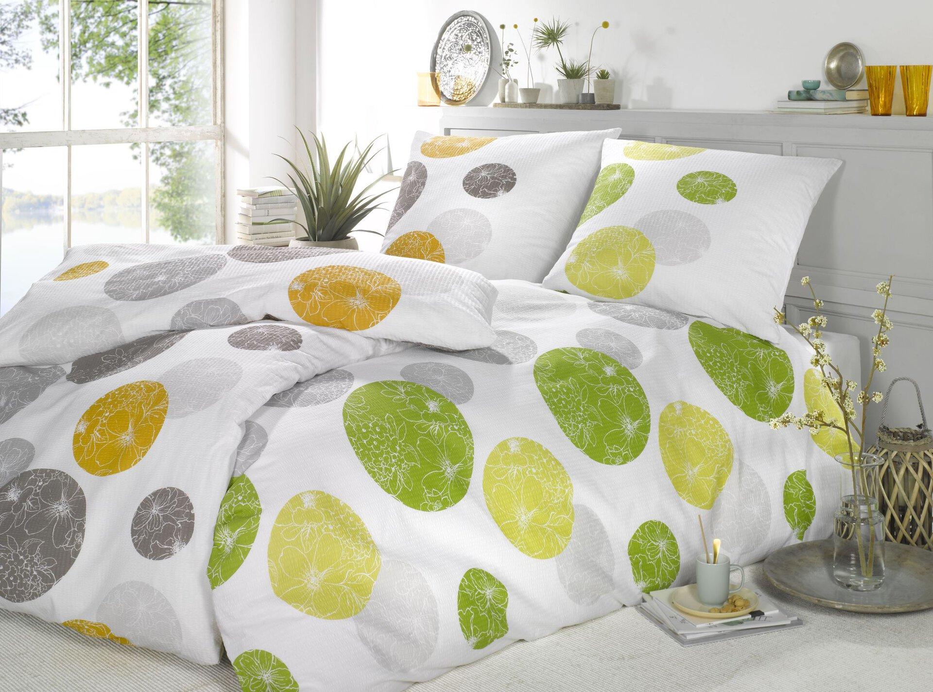 Seersucker-Bettwäsche Punkte Casa Nova Textil mehrfarbig 135 x 200 cm