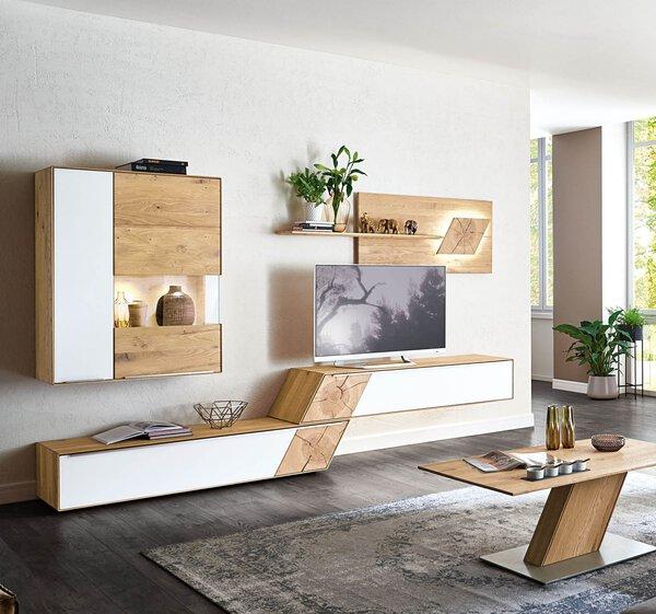 Wohnwand VALMONDO Holzwerkstoff Asteiche bianco gebürstet ca. 47 cm x 185 cm x 325 cm