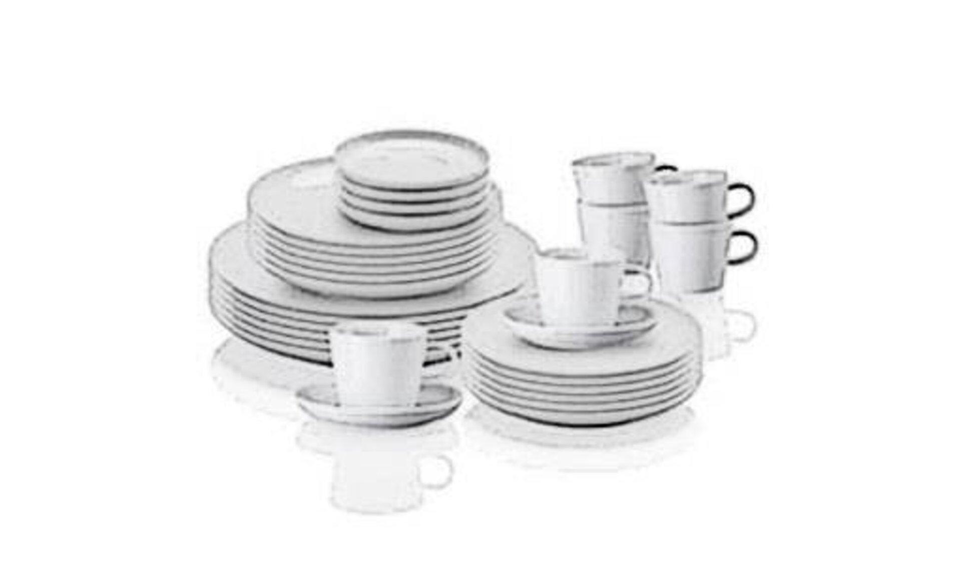 Als Sinnbild für die Kategorie Geschirr zeigt das Bild ein umfangreiches, weißes Geschirrset aus Tellern, Tassen, Dessertteller und Suppentellern.