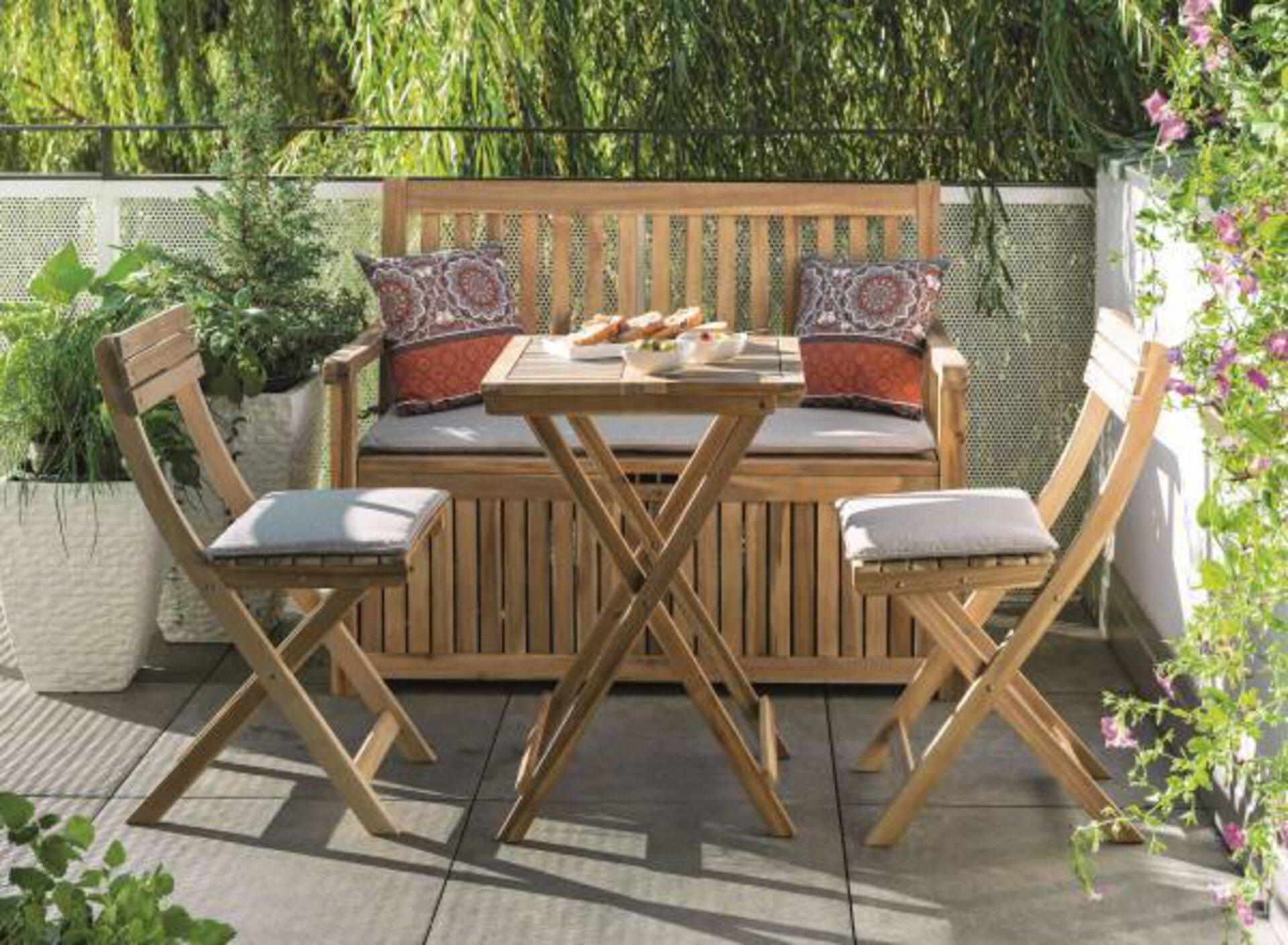 Balkon-Set HELENE Outdoor Textil grau 50 x 74 x 70 cm