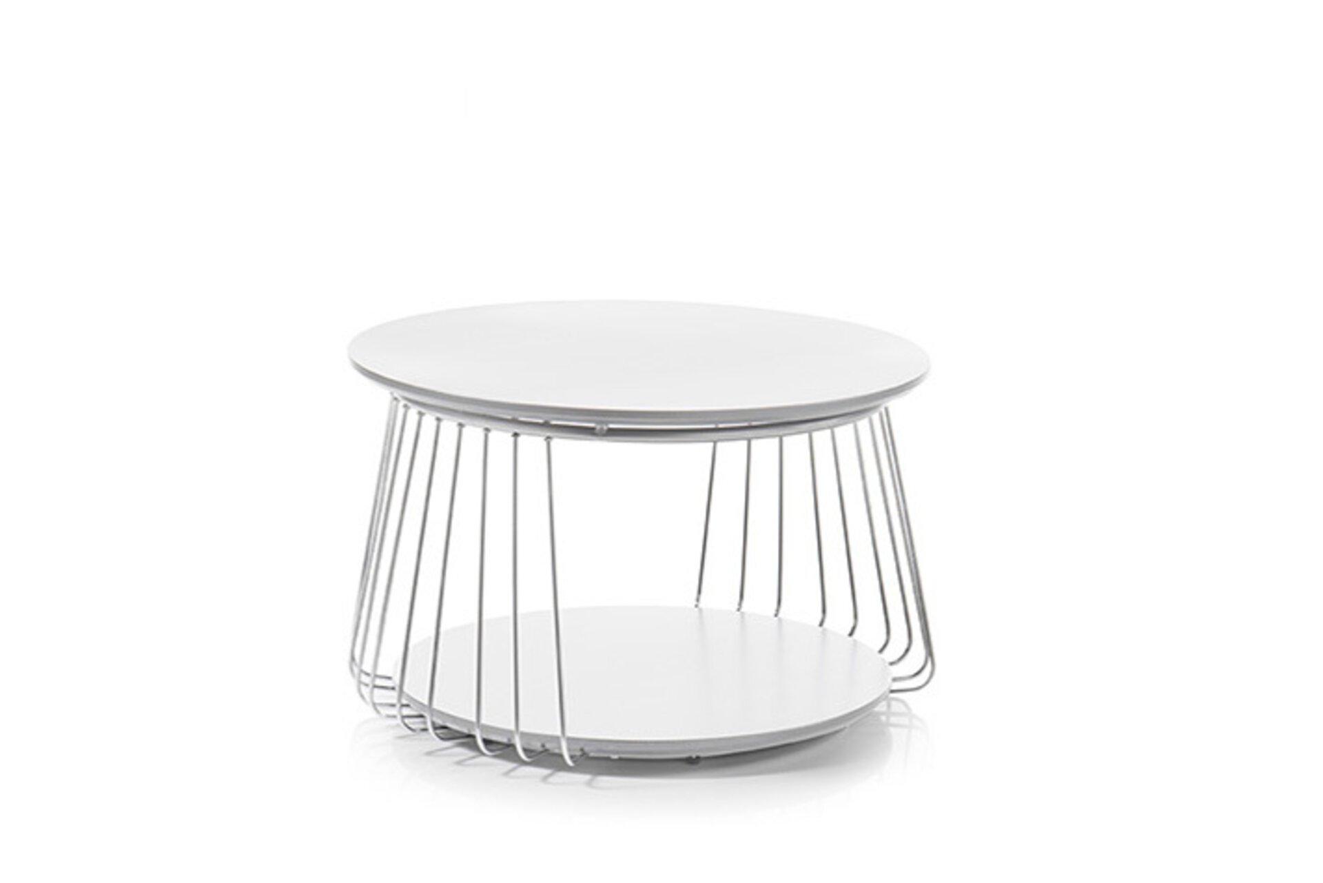 Couchtisch VILNIUS MCA furniture Metall weiß 70 x 42 x 70 cm