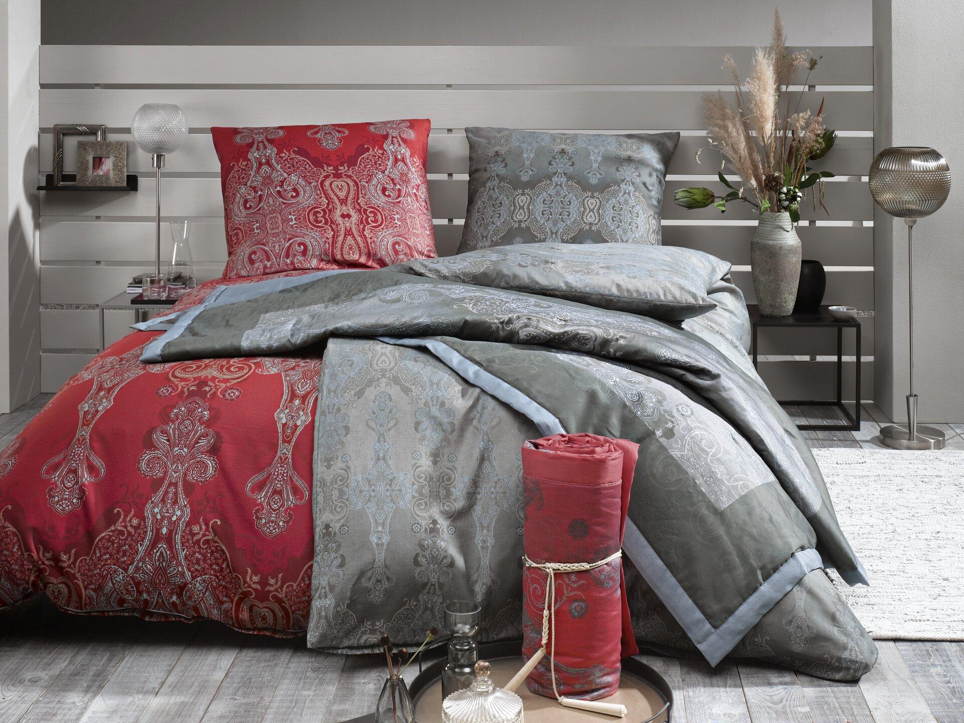 Satin-Bettwäsche Moreta Bassetti Textil silber 135 x 200 cm