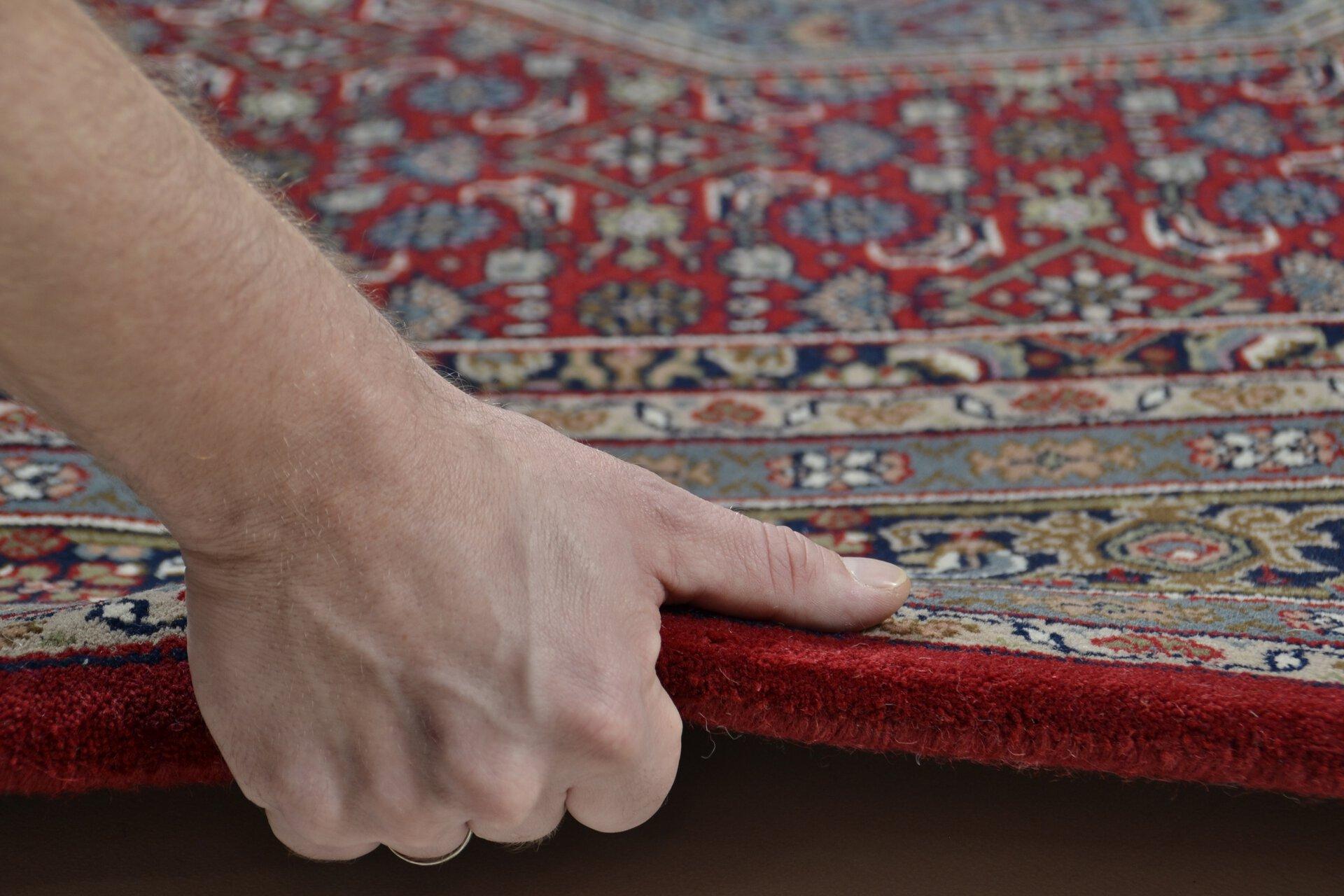 Handknüpfteppich Varanasi Theko Textil rot 1 cm