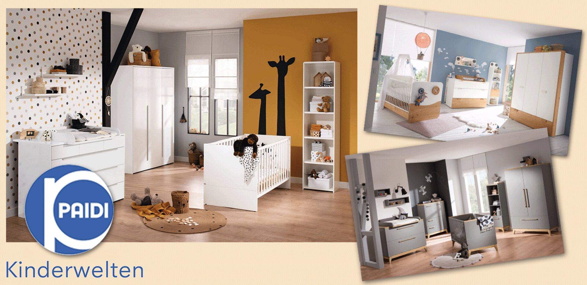 drei komplette nachhaltige Babyzimmer von PAIDI