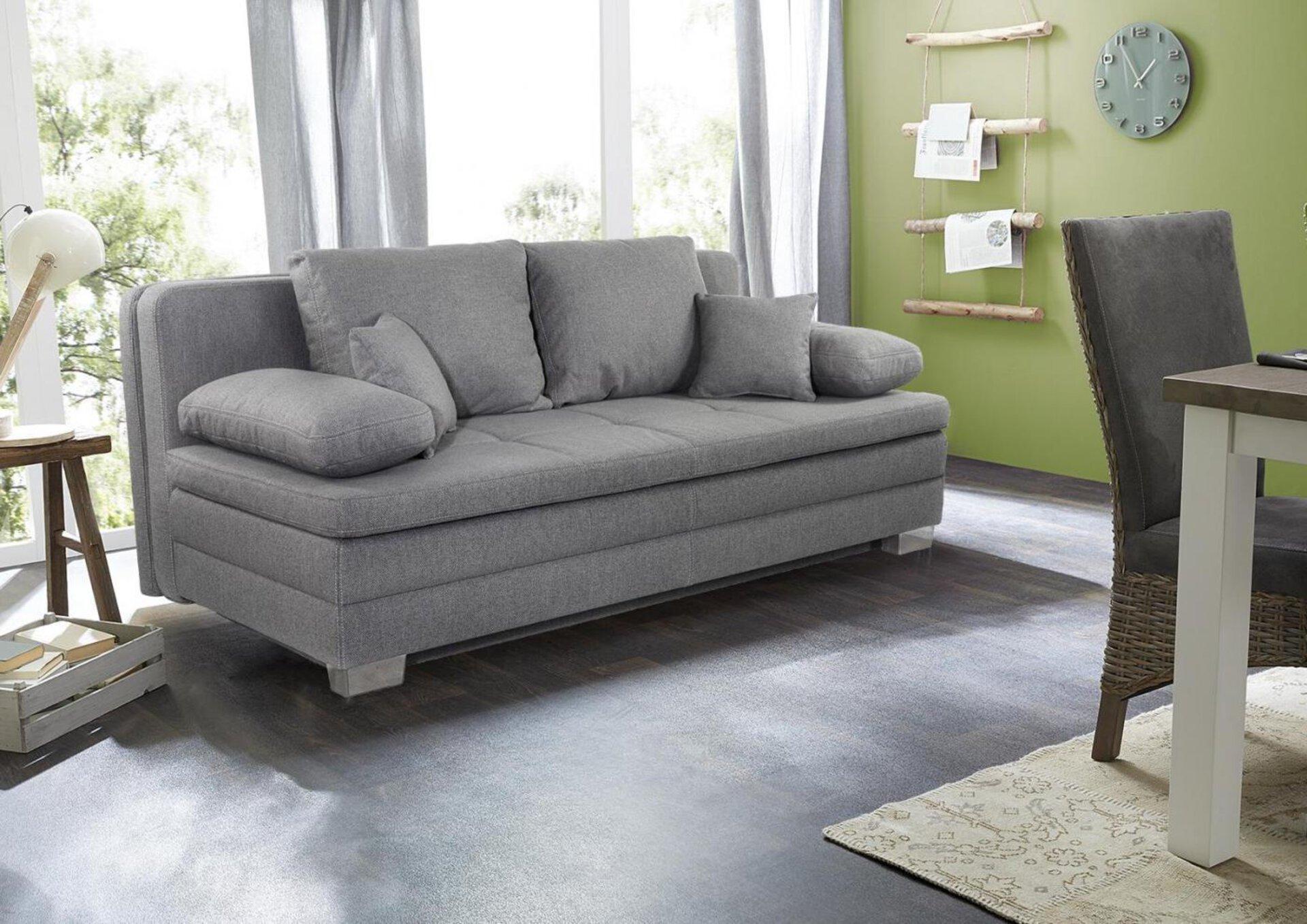 Verwandlungssofa LINDAU CELECT Textil grau 106 x 81 x 203 cm