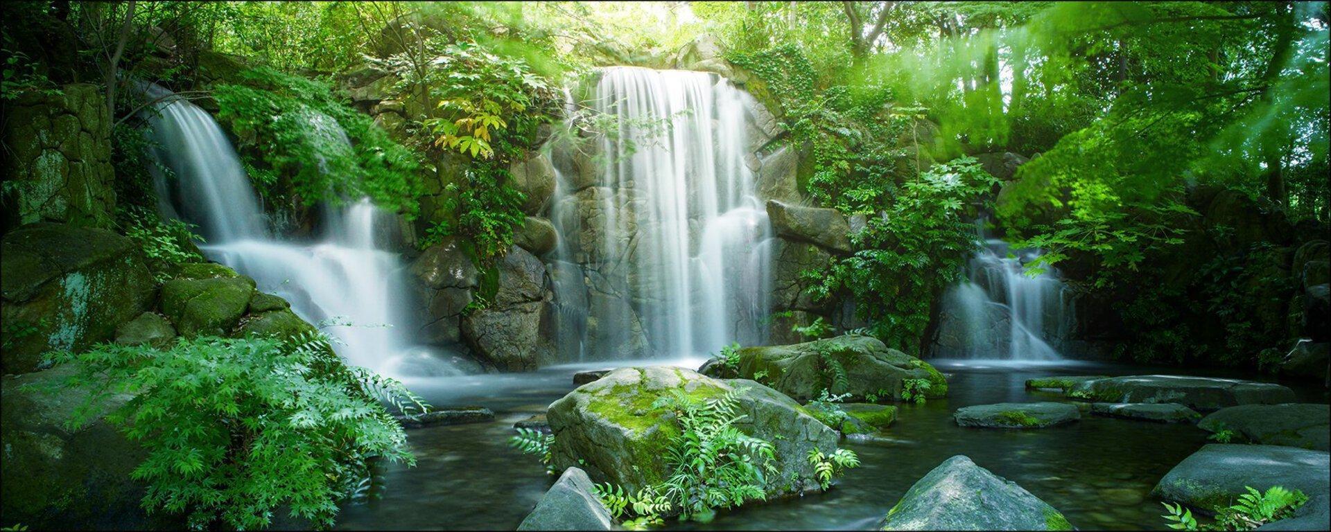 Bild Waterfall In Paradise Pro-Art Glas mehrfarbig 80 x 30 x 1 cm