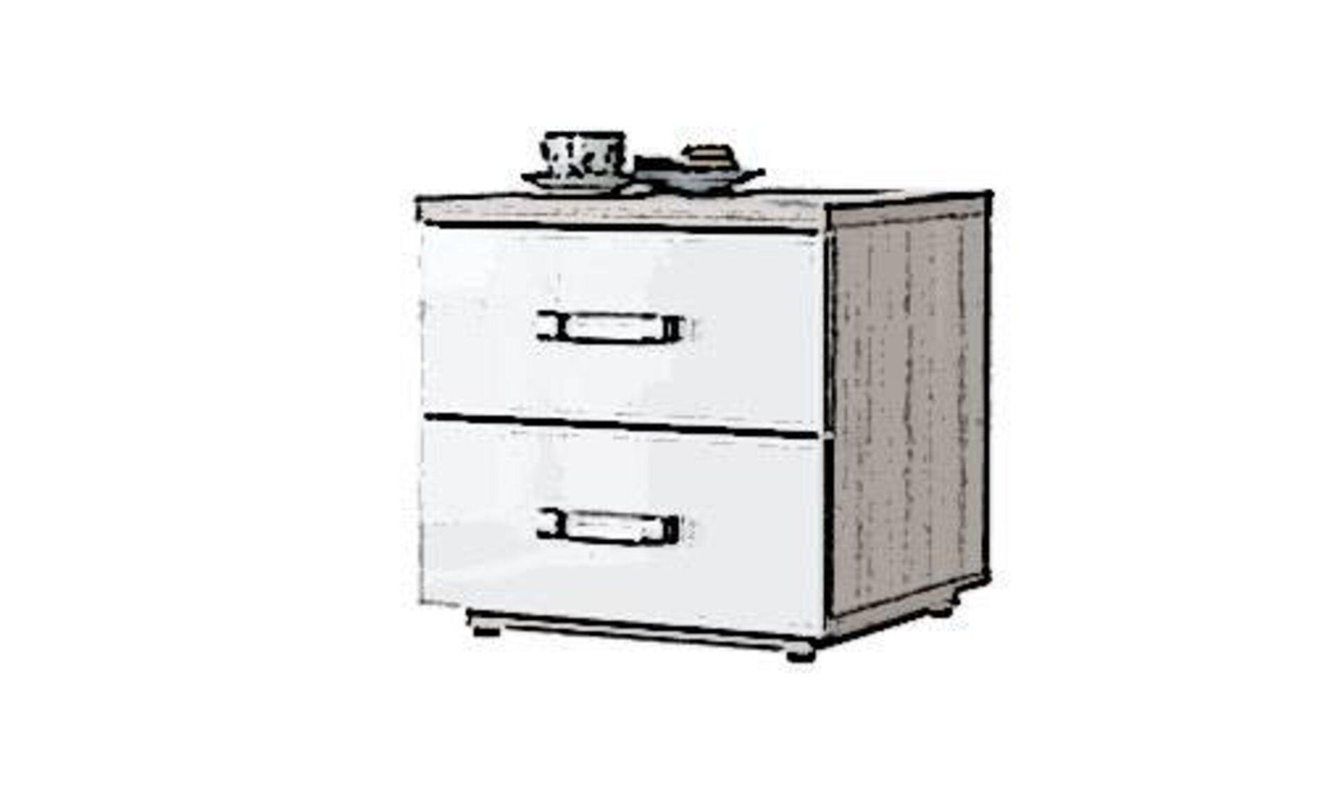 Icon für Nachttisch ist ein Holzquader mit zwei Schubladen, die zum Kontrast eine weiße Front und geradlinige Edelstahlgriffe haben.