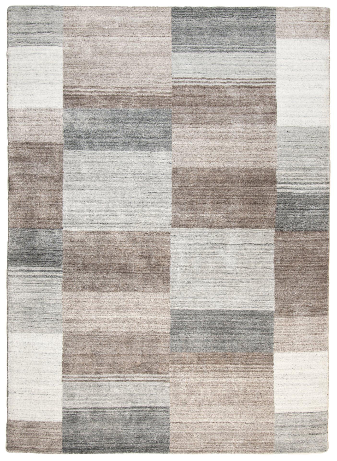 Handwebteppich Venice Theko Textil grau 1 cm