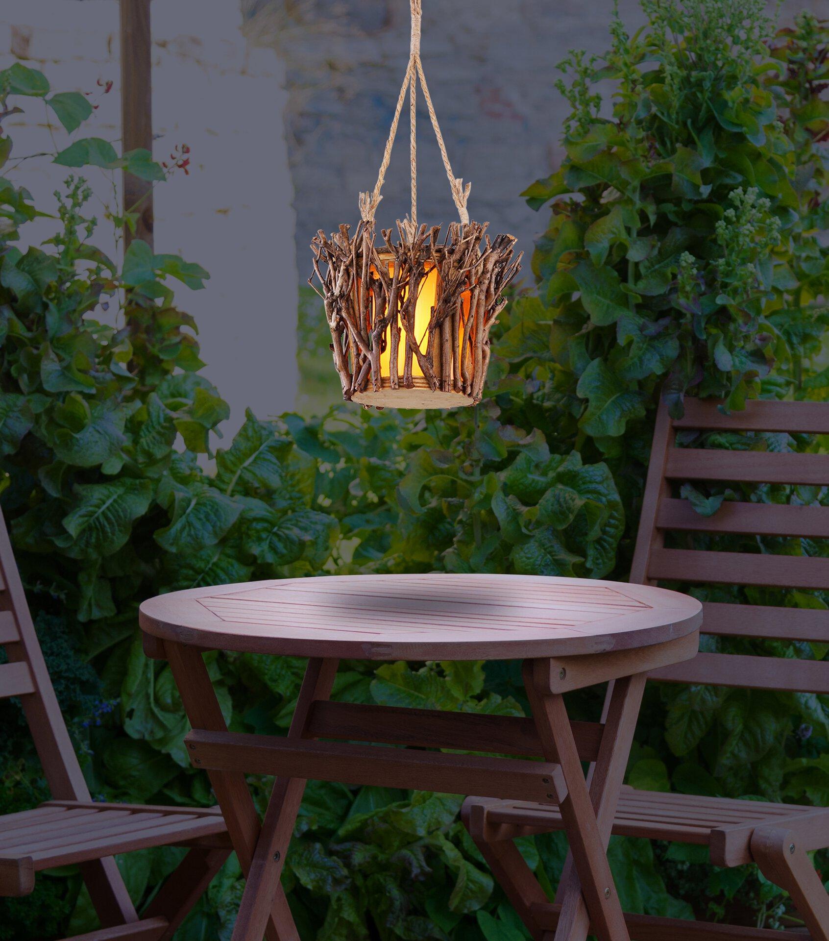 Solarleuchte Solar Holz Globo Holz braun 26 x 62 x 26 cm