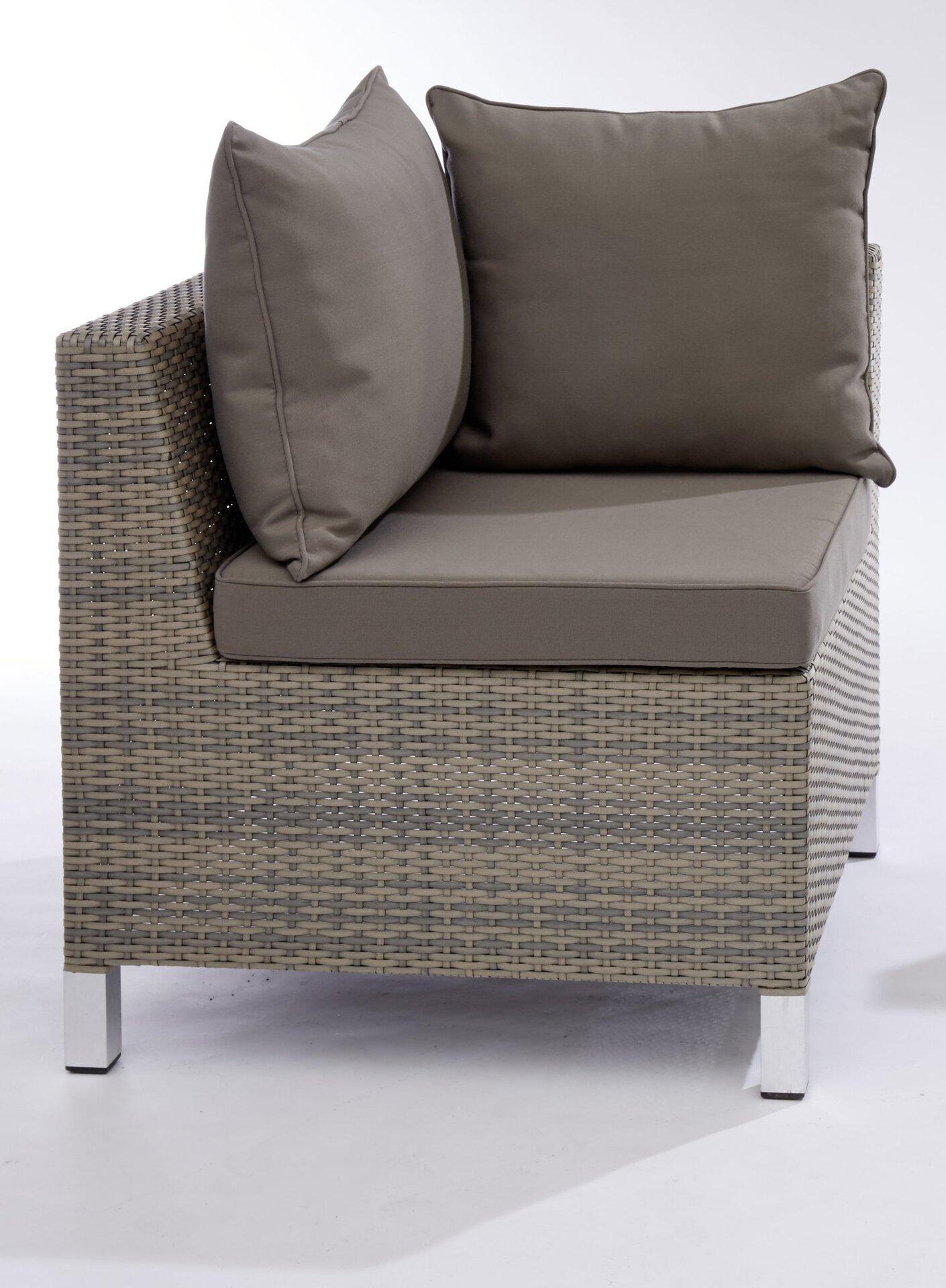Eckelement SAMANTHA Outdoor Textil grau 70 x 70 x 70 cm