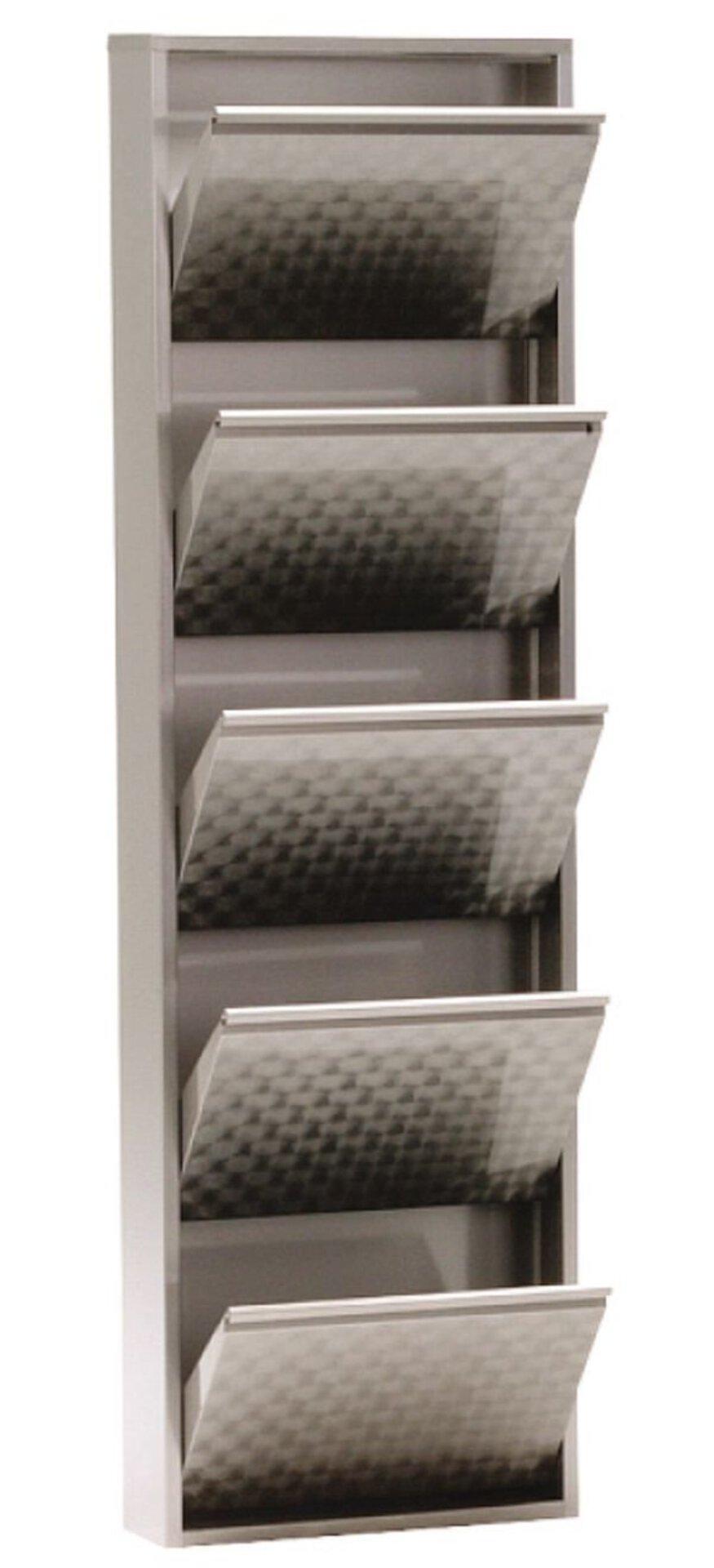 Schuhschrank clip.5 inbuy Holzwerkstoff silber 15 x 169 x 51 cm