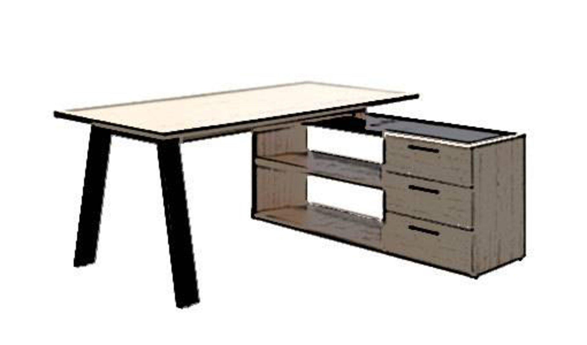 Eckschreibtisch aus Holz mit einer Schreibtischplatte auf der linken Seite und Regalfächer, sowie Schubladen auf der rechten Seite. Der stilisierte Eckschreibtisch steht für alle Bürotische diese Art.