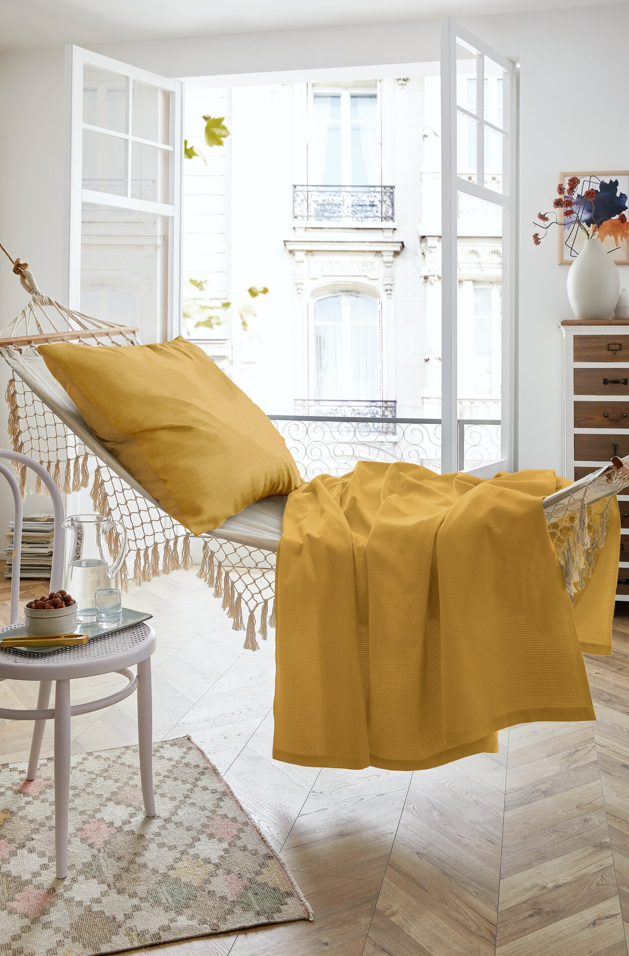 Sommerdecke Summer-Set Canvas Hahn Textil orange 150 x 200 cm