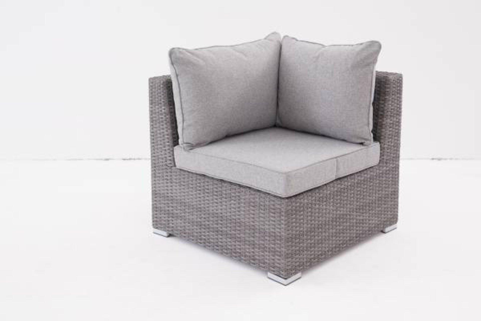 Eckelement RUEGEN Outdoor Textil grau 75 x 84 x 84 cm