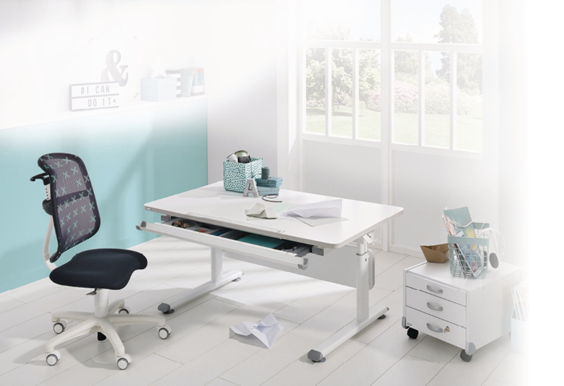 Schreibtisch DIEGO PAIDI Holzwerkstoff weiß 70 x 79 x 120 cm