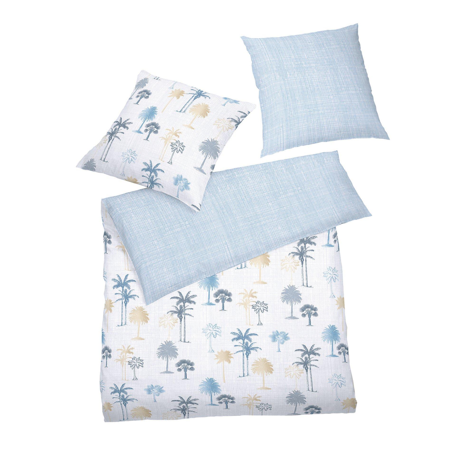 Satin-Bettwäsche Mako Satin select Schlafgut Textil Blau 135 x 200 cm