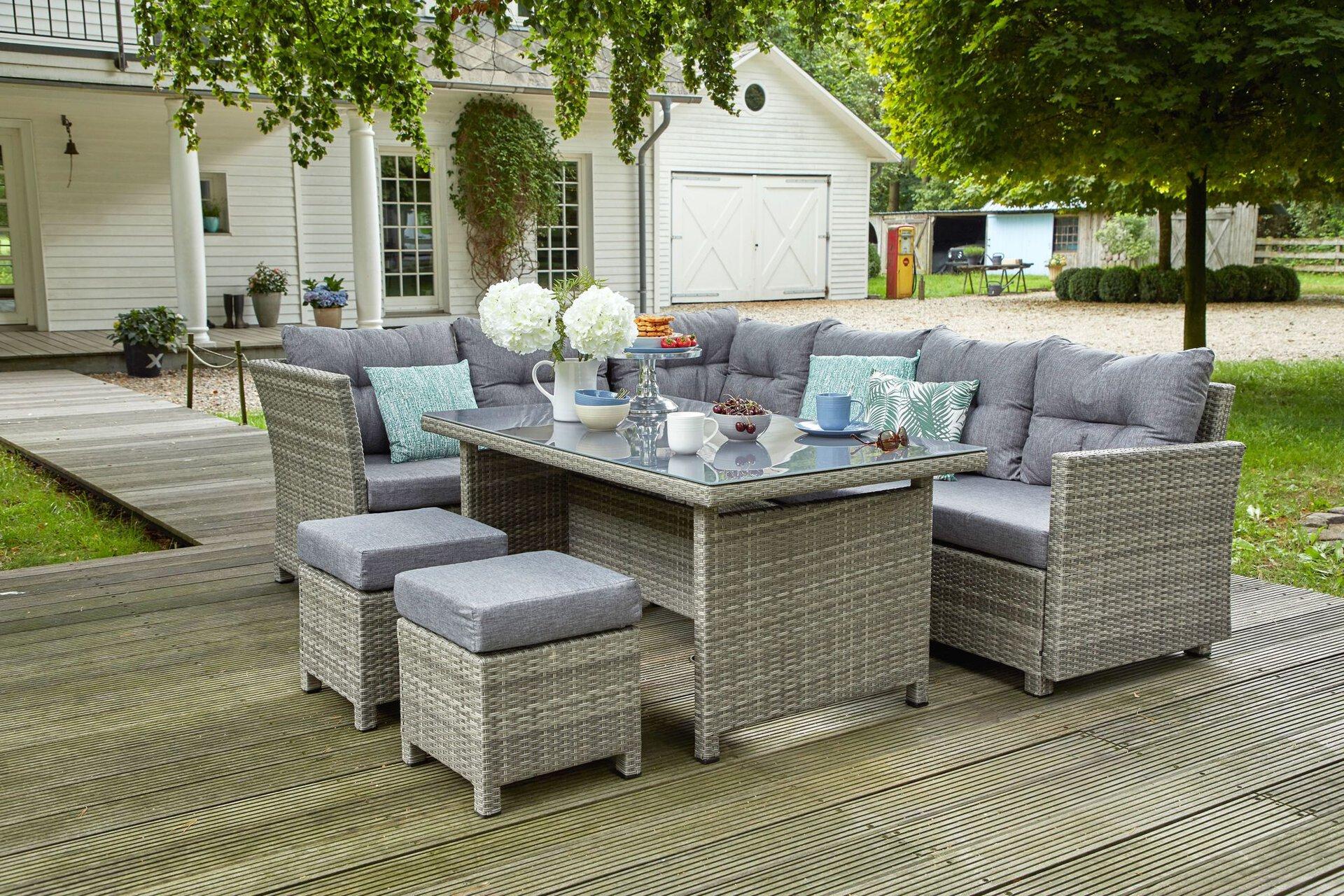 Dining – Ecklounge AMRUM Outdoor Textil grau 85 x 68 x 145 cm