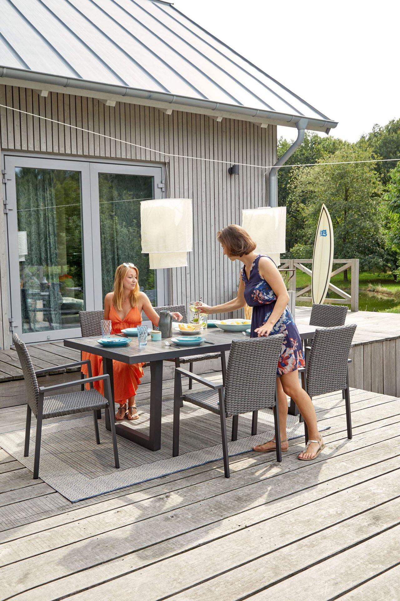 Gartentisch ILADO Outdoor Metall grau 100 x 74 x 200 cm