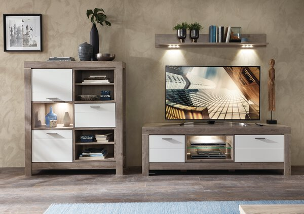 Wohnwand Vito Holzwerkstoff Lack Laminat weiß ca. 48 cm x 170 cm x 314 cm