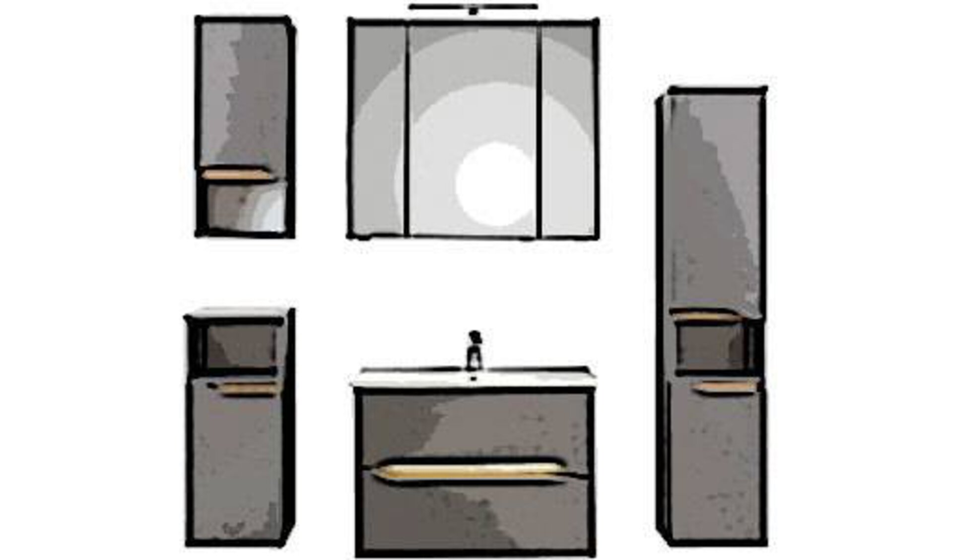 Badezimmer bestehend aus Waschtisch mit Waschbecken, Spigelschrank mit 3 verspiegelten Schranktüren, Hochschrank, Unterschrank und Hängeschrank. Die abgebildeten Möbel sind grau und mit Naturholz durchzogen.