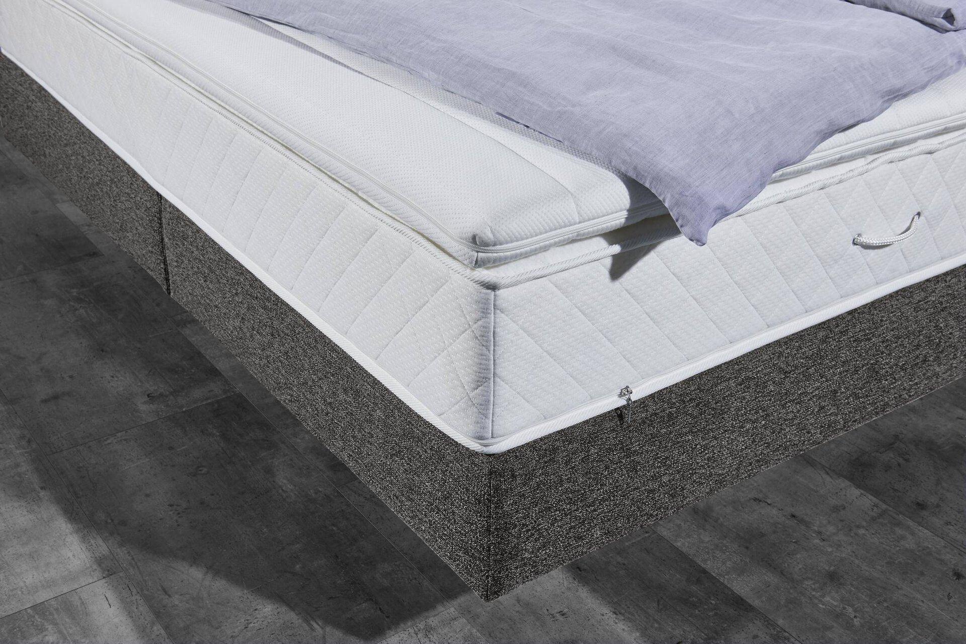 Boxspringbett ESPO MONDO Textil beige 200 x 115 x 207 cm
