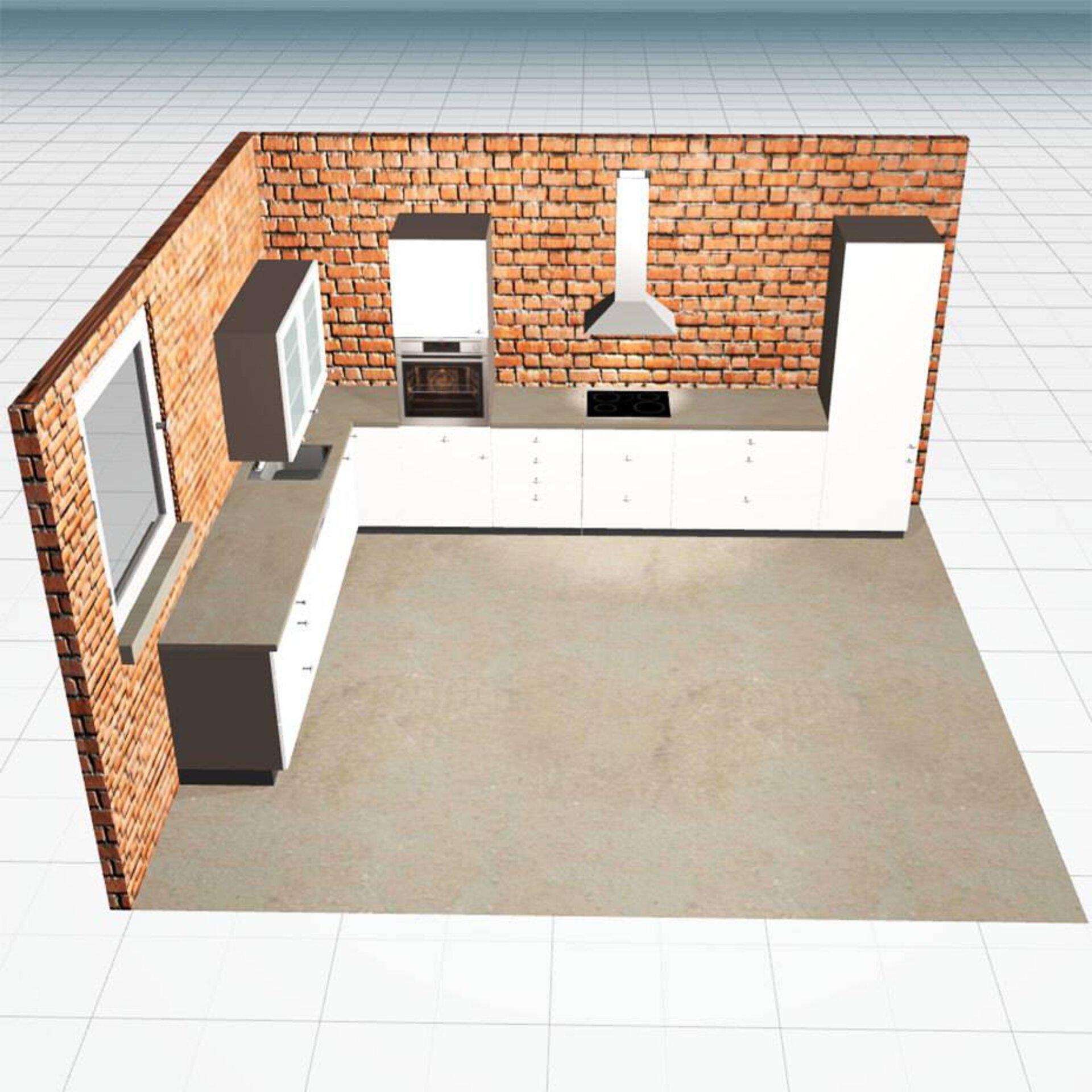 Link-Bild zu 3D-Küchenplaner zeigt eine darin geplante Küche.