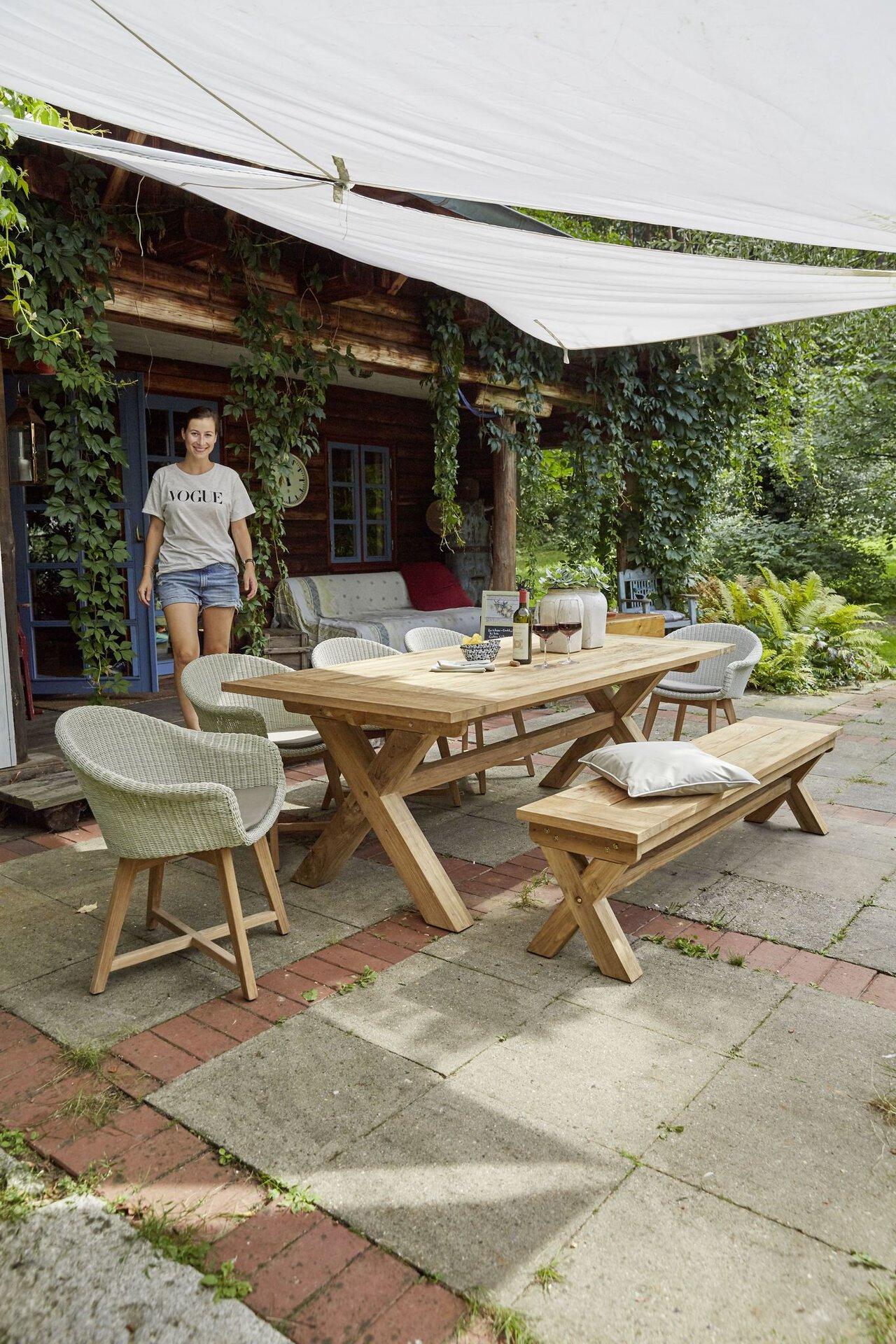 Gartenbank Dublin Outdoor Holz 40 x 45 x 190 cm
