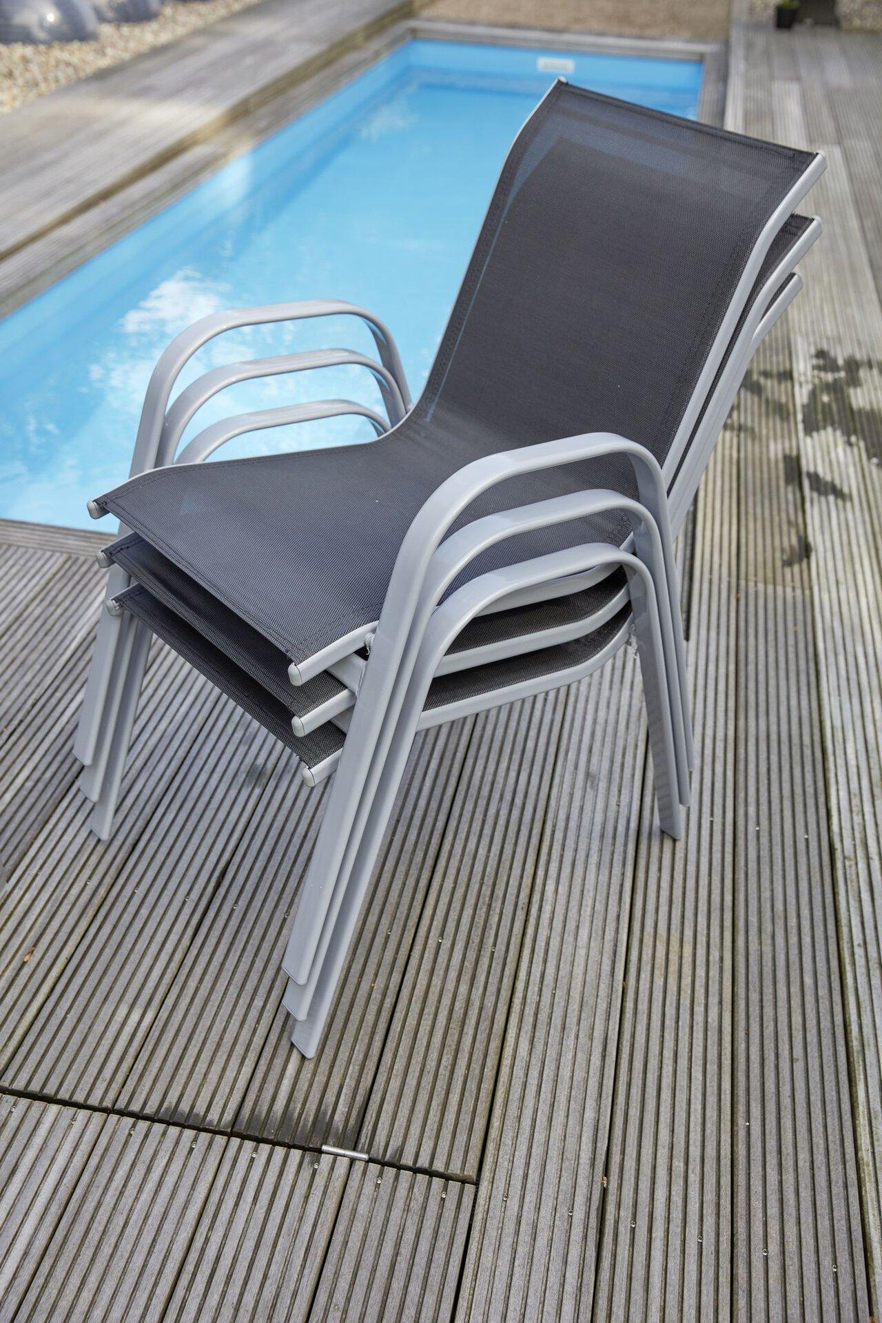 Stapelstuhl TRIXI Outdoor Textil schwarz 50 x 90 x 70 cm