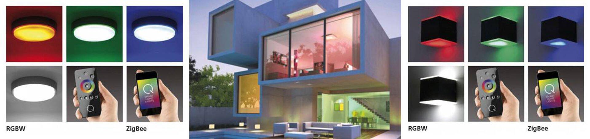 Bannerbild zur Steuerung der Smart-Home-Leuchten. Links und rechts sind Lampen in unterschiedlichen Farben zu sehen. In der Mitte ist ein geometrisches Haus von außen zu sehen, as dessen Fenster unterschiedlich farbige Lichter erstrahlen.