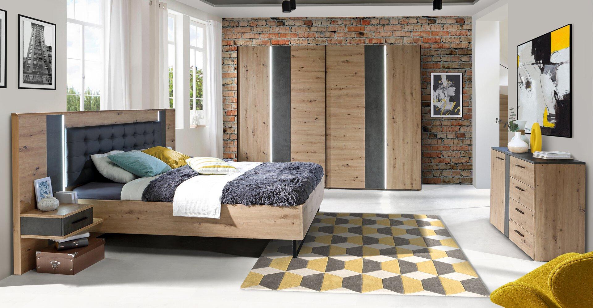 Bettanlage FOSSANO LIV'IN Holzwerkstoff braun 210 x 120 x 297 cm