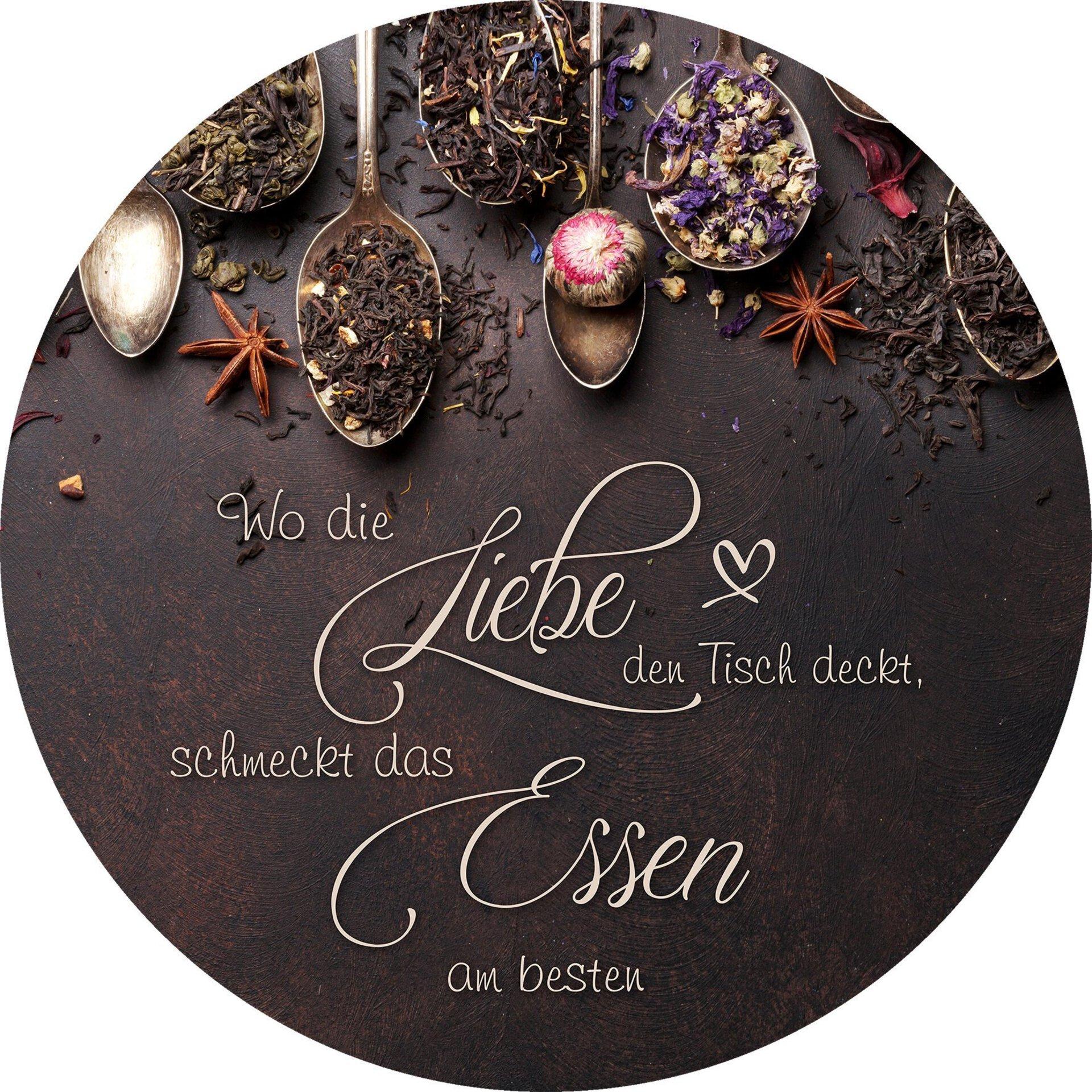 Bild Liebe & Essen Pro-Art Glas mehrfarbig 30 x 30 x 1 cm