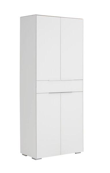 Aktenregal Vito Glas, Holzwerkstoff Weißglas ca. 37 cm x 188 cm x 80 cm