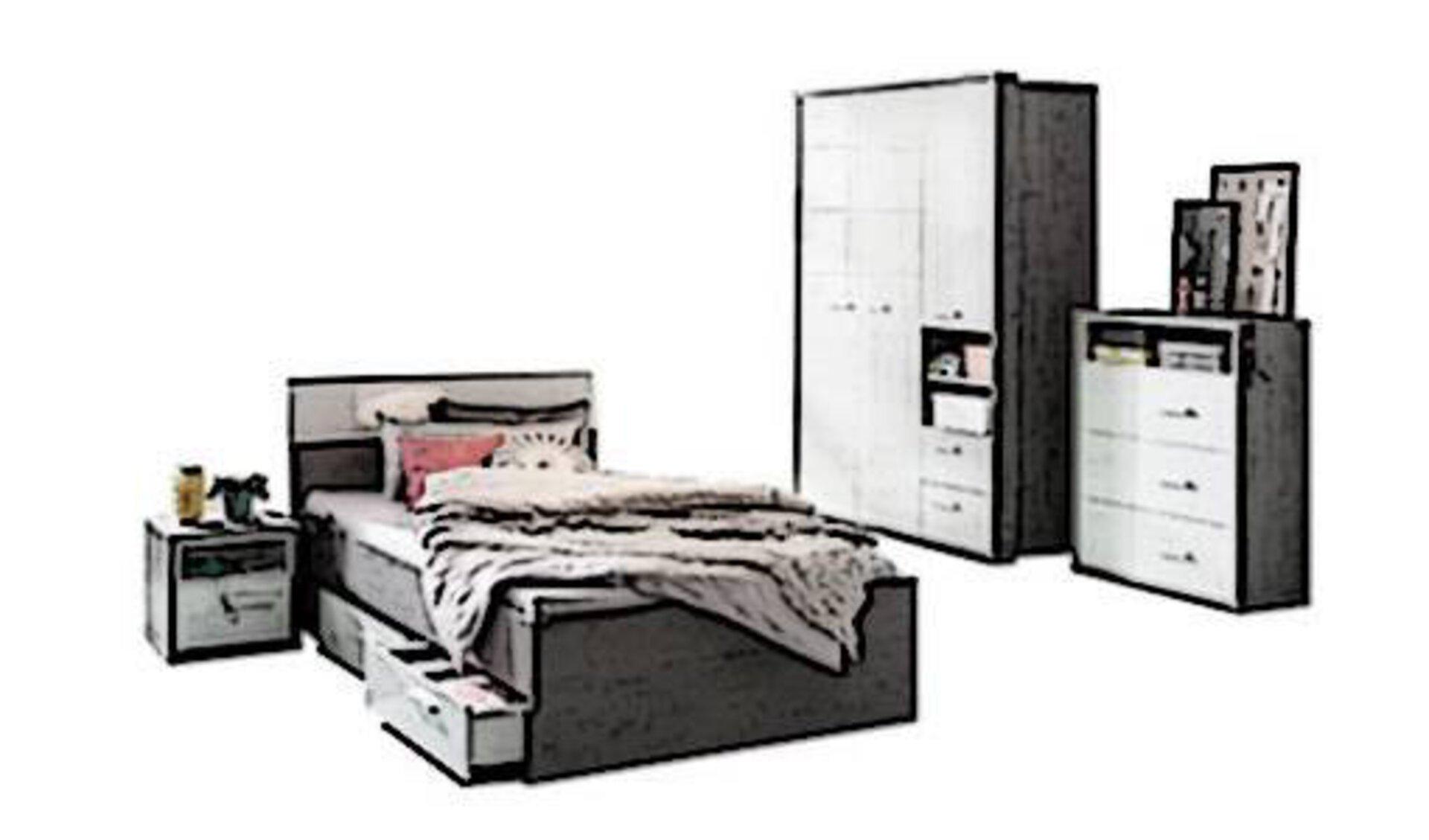 Icon für Jugendzimmer zeigt eine komplette Ausstattung des Zimmers, bestehend aus Bett mit Bettkasten, Nachttisch, Kleiderschrank und Kommode. Das Design ist jung und passt in das zeigemäße Jugendzimmer.