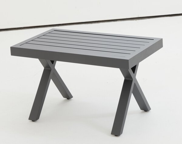 Beistelltisch Outdoor Metall, Textil anthrazit (J310P) ca. 41 cm x 42 cm x 72 cm