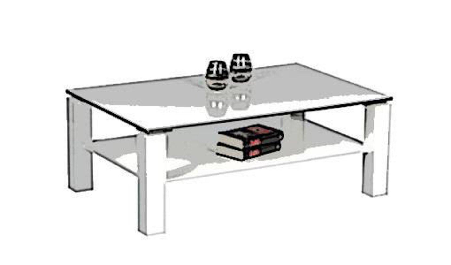 Stilisierter weißer Couchtisch in rechteckiger Form mit quadratischen Tischbeinen und Ablagefläche unterhalb der Tischplatte.