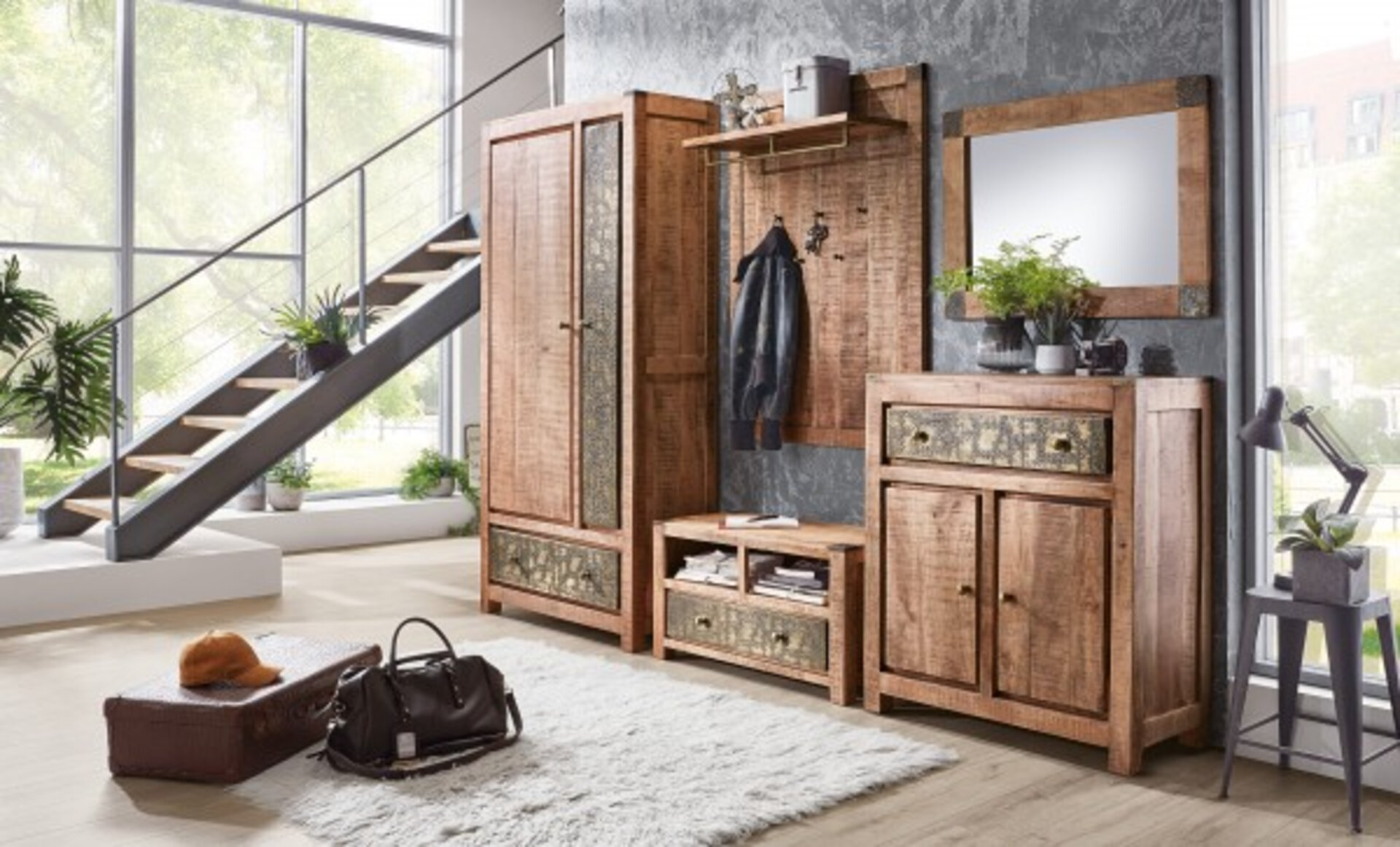 Garderobenschrank CURL Vito Holz mehrfarbig 40 x 200 x 100 cm