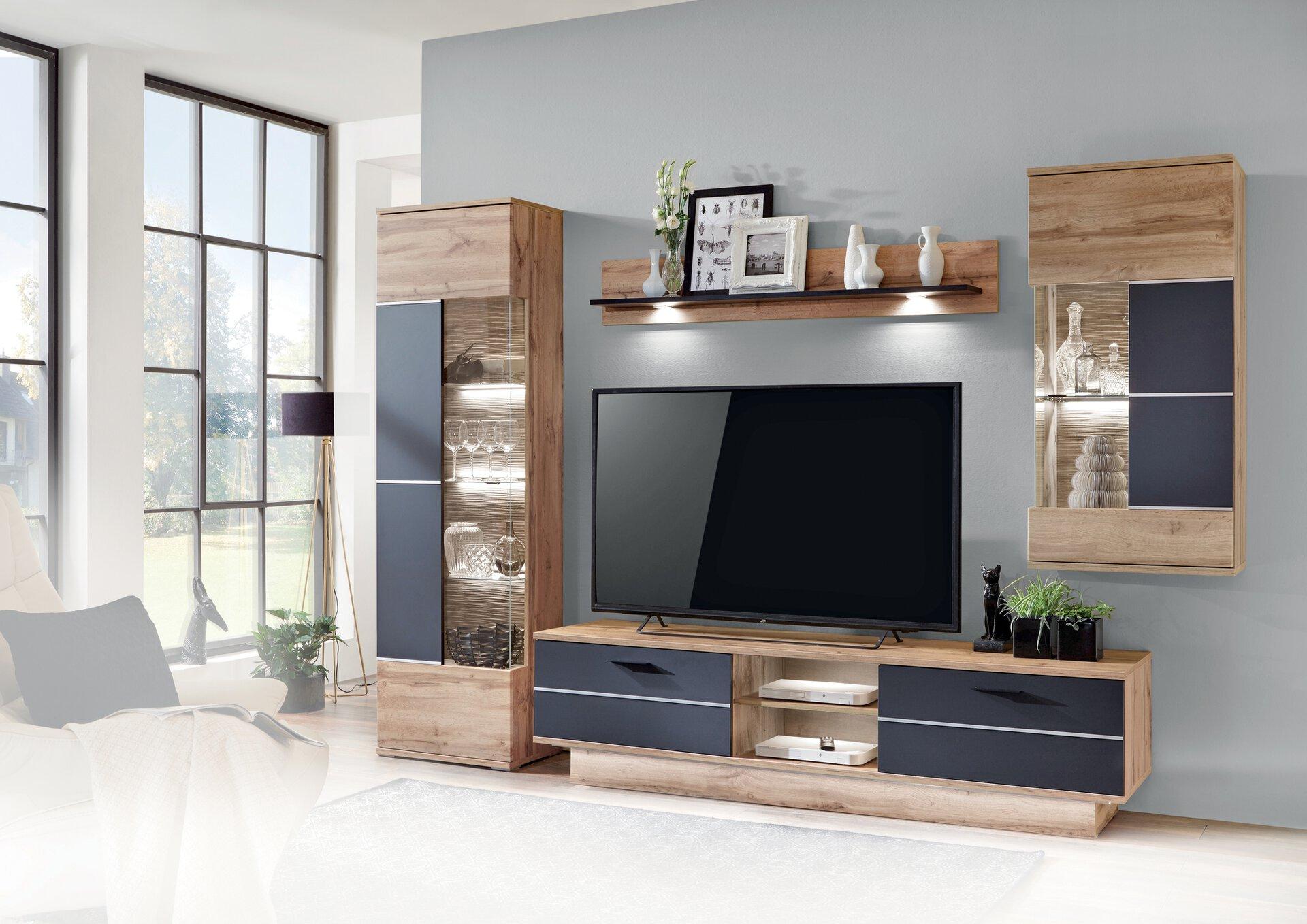 Wohnwand ALFONSO CELECT Holzwerkstoff weiß 50 x 207 x 300 cm
