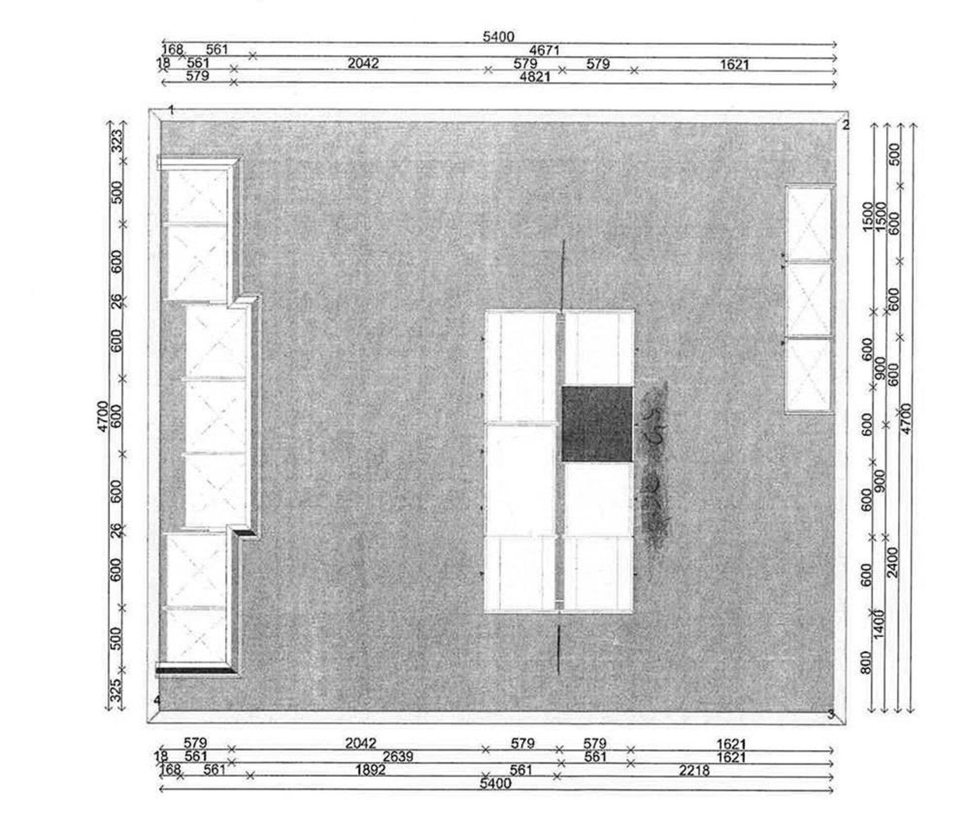 HP680 Küchenkombination mit Insel und Büffet Poggenpohl
