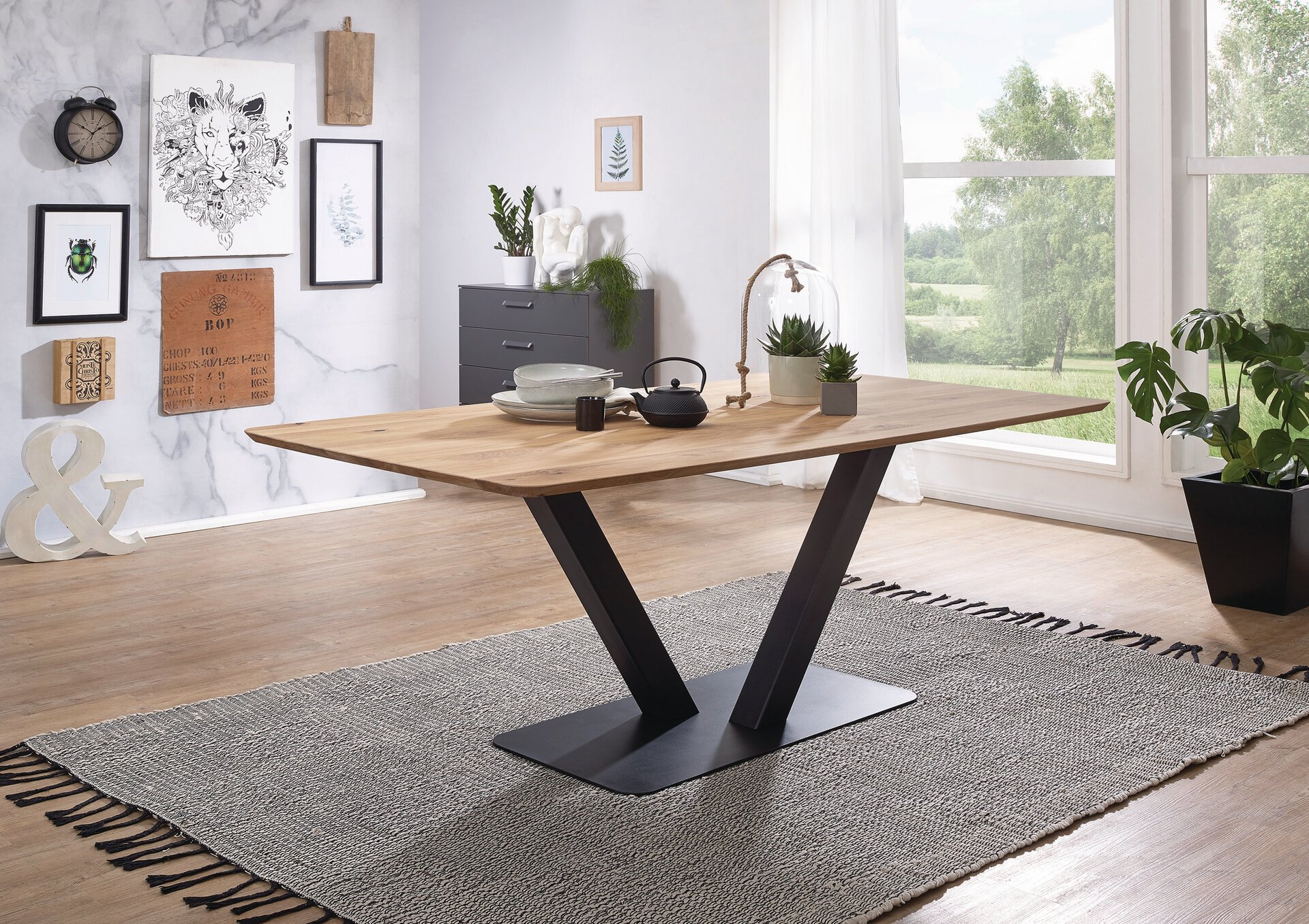Esstisch TI-0541 Dinett Holz braun 100 x 75 x 200 cm