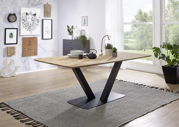 Tisch mit fester Platte Dinett Holz Wildeiche geölt