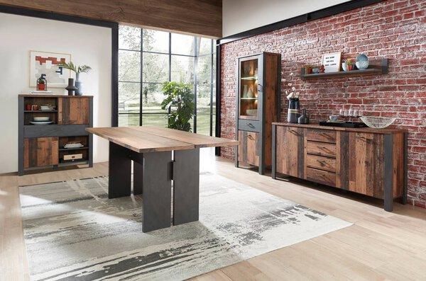 Esstisch CELECT Holzwerkstoff Used Style Dark Nachbildung ca. 90 cm x 76 cm x 180 cm