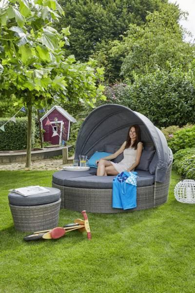 Lounge-Set Outdoor Kunststoff Kunststoffgeflecht grau ca. 192 cm x 84 cm x 98 cm