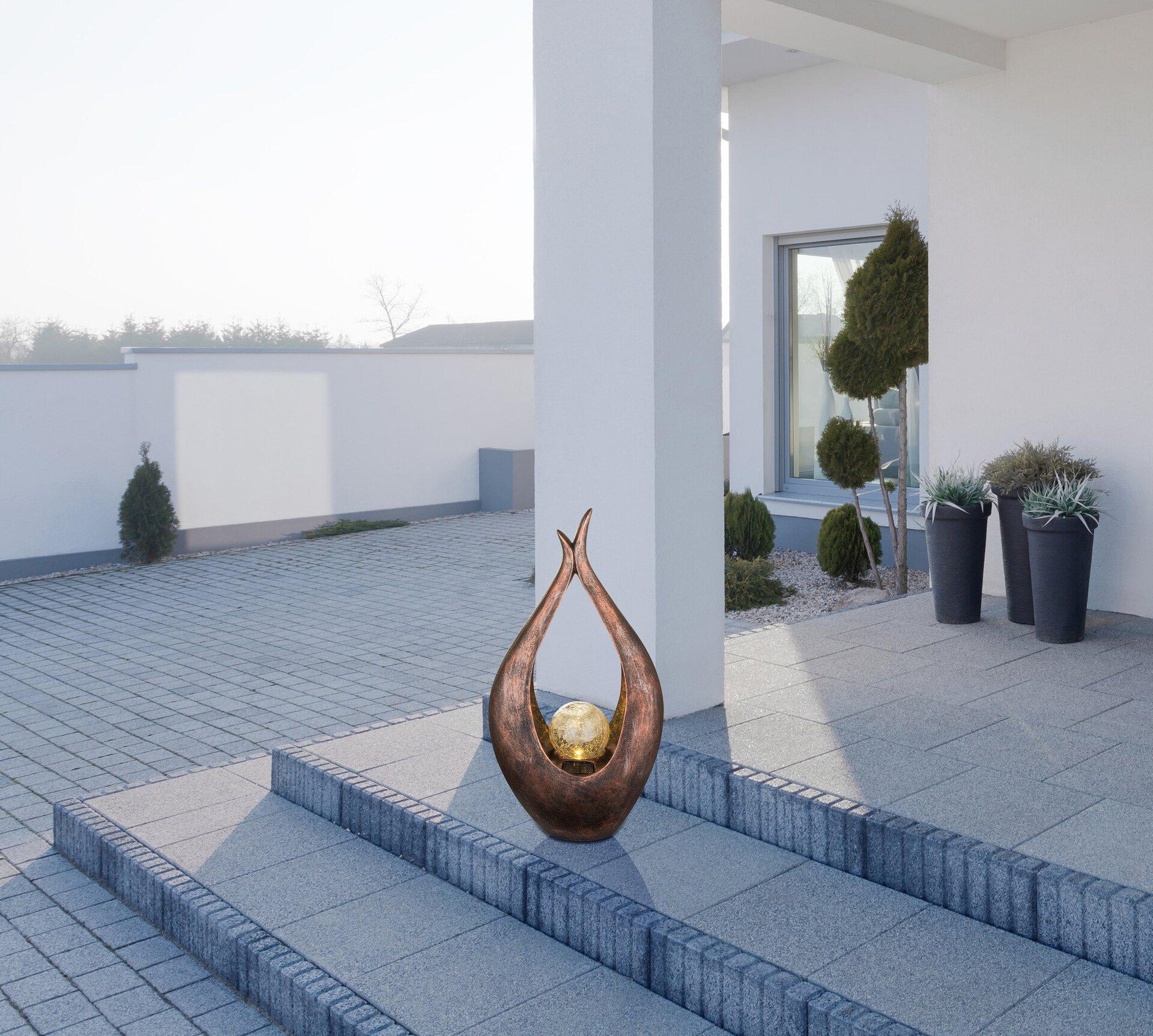 Solarleuchte Solar Skulptur Globo Kunststoff braun 13 x 50 x 27 cm